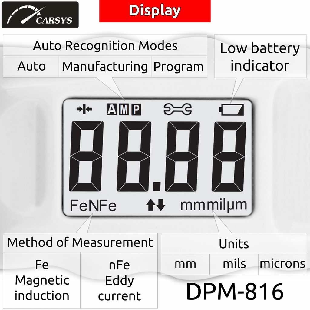 Display Features of thickness gauge DPM-816 PRO WHITE